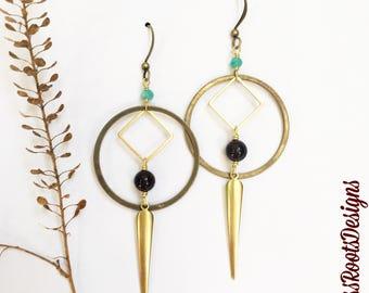 Amazonite, Garnet & Raw Turkish Brass Earrings, Simple, Elegant and Lightweight Mixed Gemstone and Metal Jewelry