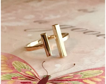 Two Bar Adjustable Ring - Bronze Two Bar Ring - Gold Color Ring - Adjustable Size 6 to 8 - Double Bar Ring - Parallel Bar Ring - Minimalist