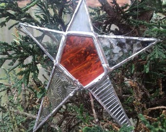 Red Star - Stained Glass- Mixed glass
