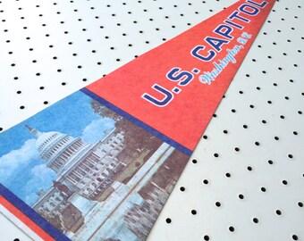 Vintage US Capitol, Washington DC Souvenir Felt Pennant (1970s)