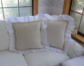 Pair Ruffled Ivory Burlap Pillows Burlap Pillow Shams Decorative Pillows French Country Farmhouse Prairie Bedroom Pillows