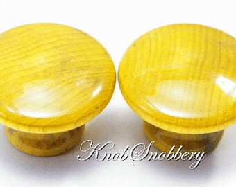 "Yellow Gold Wood Grain Knobs in Translucent Shine. Available in 1"", 1.25"", 1.5"" or 2"".  Buy 1, 2 or a Dozen - Only Just What You Need."