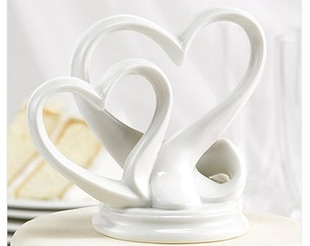 White Porcelain Double Hearts Wedding Cake Topper