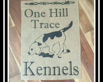Dog Kennel Burlap Flag/Free Shipping!!/ Yard Kennel custom gift personalized wall home