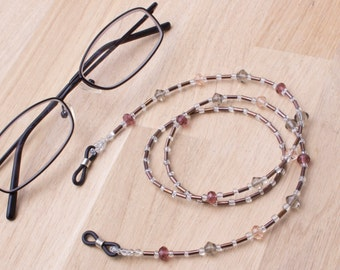 Eyeglass chain - Faceted glass bead naturals glasses chain | Spectacle cord | Eye glasses holder | Eyewear accessories | Reader gift lanyard