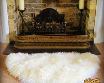 Plush Faux Fur Area Rug - Luxury Fur Thick Shaggy Bear Skin - Half Round - Fireplace Kitchen Bedroom Designer Throw Rug - Fur Accents USA