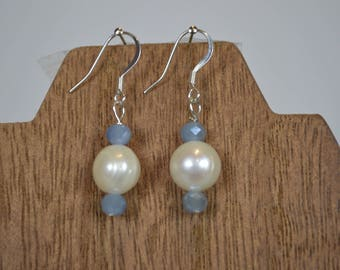 Genuine Pearl and Aquamarine Drop Earrings