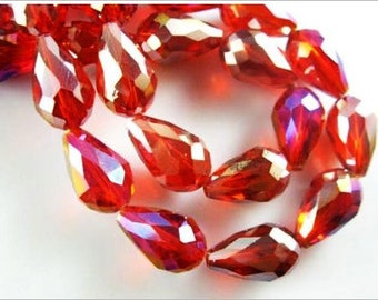15x10mm Red AB Designer Faceted Glass Crystal Teardrop Beads 10pcs