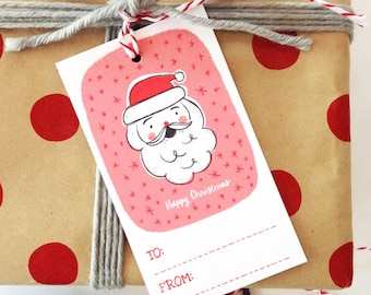 Santa Christmas Gift Tags - Set of 10, Happy Christmas