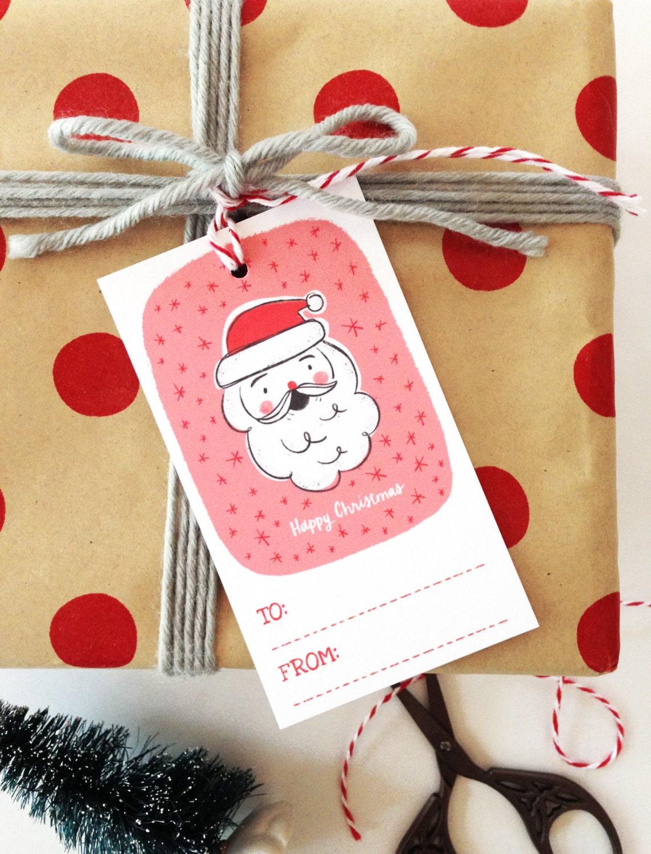 Santa Christmas Gift Tags Set of 10 Happy Christmas