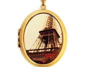 Photo Locket - Iron Lady Paris Eiffel Tower- Wearable Art Locket Necklace