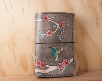 A5 Travelers Notebook - Leather Cover for Midori, leuchtturm1917, Hobonichi Techo, Moleskine - May pattern - hummingbird and cherry blossom