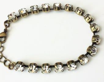 Swarovski Rhinestone Bracelet Swarovski Crystal Tennis Bracelet Crystal Rhinestone Bracelet Antique Brass Tennis Bracelet