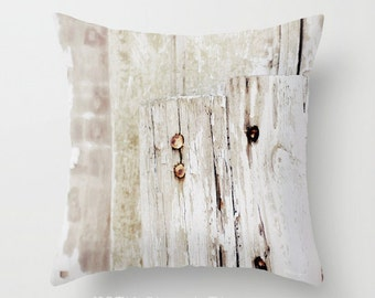 "WHITE BARN NAILS. 16x16"" Pillow Cover w Photo Art. Rustic. Primitive. Farmhouse. Country French. Bucks County Pa. Abstract. Nuetral. Chic."