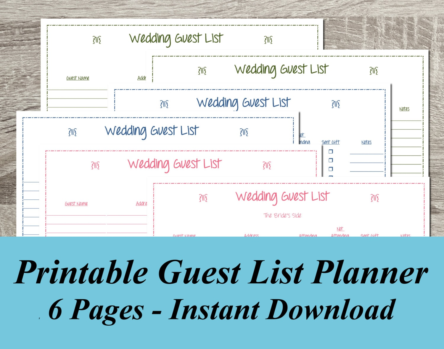 🔎zoom  Free Wedding Guest List Template