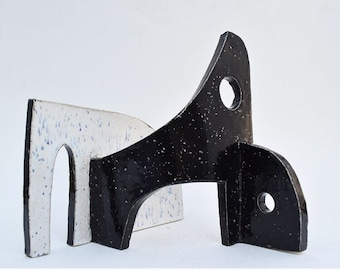 Marvelous Original Glazed Abstract Sculpture By Daniel Hukill