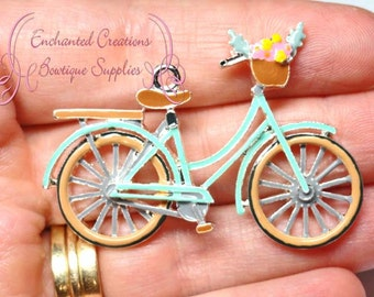 "2"" Bicycle Charm, Mint Green Bike, Flower Basket, Purse Charm, Chunky Pendant, Keychain, Bookmark, Zipper Pull Chunky Jewelry, Aqua Bike"