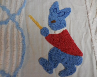 Sale - Vintage Chenille BABY Blanket / Crib Bedspread with Three Needlepoint BUNNIES and Blue SCROLLS - Cutter or Not