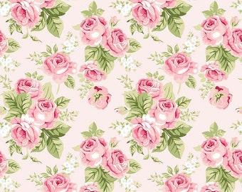 Love Story - Pink Floral Fabric - Webster's Pages - Riley Blake Designs - Flower Fabric - Sold by Half Yard