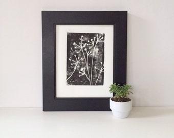 Botanical Naturalist Decor Linocut POSTER Black and White Flowers Print 8 x 10