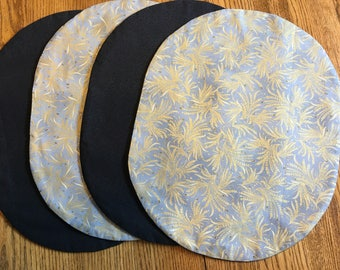 "Gold Vines on Blue Placemats 14"" x 18""  set of 4"