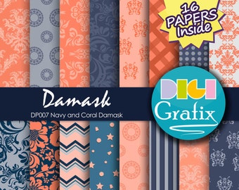 SALE Navy and coral damask Digital Paper - Damask, Navy and Coral damask Digital Paper, Printable Paper, Damask Textures Birthday Party