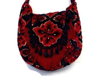 Gothic Bag Purse Handbag Antique Black and Red Cut Chenille with Fringe and Vintage Velvet