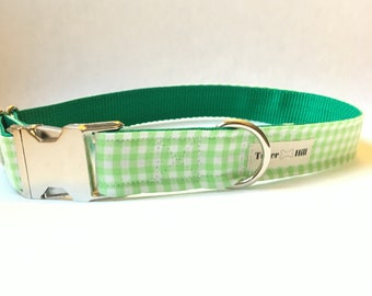 Green Gingham Dog Collar - Green Plaid Dog Collar - Gingham Dog Collar - Preppy Boy Dog Collar -Preppy Girl Dog Collar -Green Checker Collar