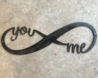 Gun Metal Gray Infinity You and Me Metal Sign Wall Art Love Anniversary Gift