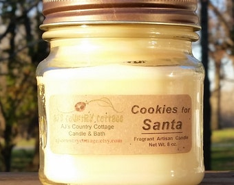 COOKIES for SANTA CANDLE - Cookie Dough Candles, Vanilla Candles, Scented Candles, Christmas Candles, Holiday Candles, Cookie Candles