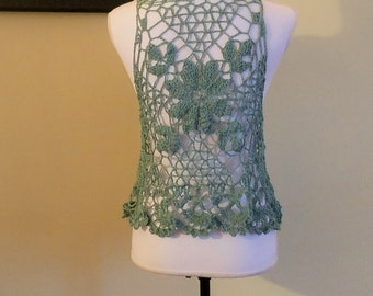 Light blue crochet lace vest, boho vest, hippy crochet vest, summer festival vest