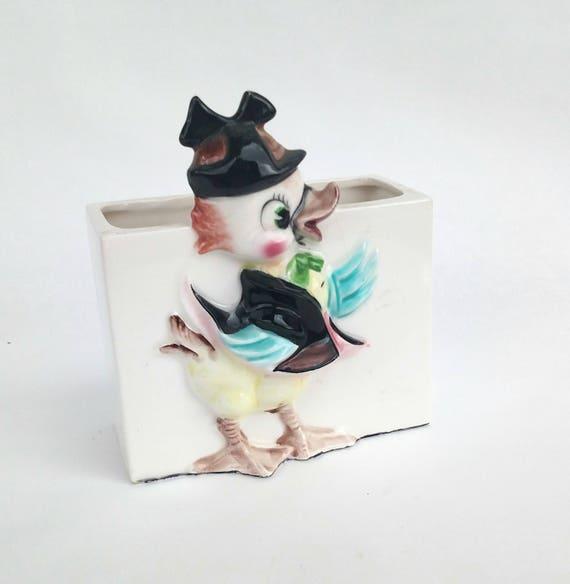 Vintage 1950's Ceramic Container with Cartoon Duck
