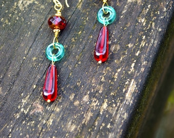 Garnet Red Earrings with Teal Green Glass Rings handmade garnet red Czech glass and green glass gift for women