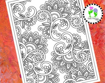 Abstract Doodle Design 15 Instant Download Coloring Page