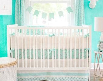 Mint Green Zebra Parade Baby Bedding Set