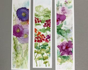 Three Bookmarks Handpainted Alcohol Ink