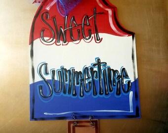 Summer Door Hanger, Popcicle Door Hanger, Americana, 4th of July, Independence Day Decor