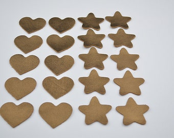 Set of 10 stars and 10 hearts in gold leather