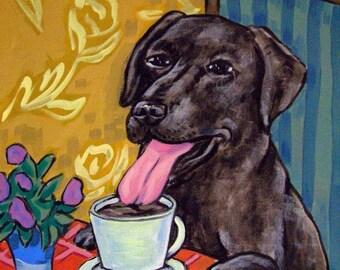 25% off Black Lab Labrador retriever at the cafe coffee shop signed dog art print