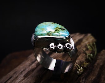 Green Cripple Creek Turquoise Ring- Blue Turquoise