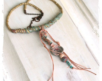 Tribal assemblage necklace, Mixed media necklace, Boho gypsy necklace, OOAK Polymer clay necklace, as seen in Belle Armoire