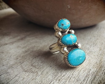 Signed Navajo Turquoise Ring, Native American Indian Jewelry, Vintage Turquoise Jewelry