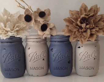 Painted Mason Jars. Set of 4 pint size mason jars . Painted with Chalk Paint, distressed and sealed with Annie Sloan wax.