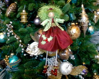 Holly Holiday Doll, Christmas Hanging Doll, Shelf Sitter Doll, Burgundy and Green Christmas Decor