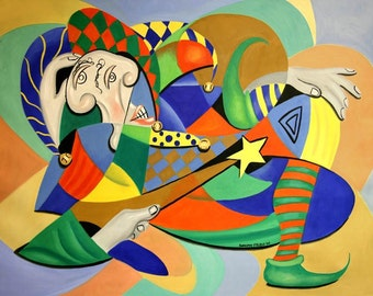 The Kings Jester Print  Cubism Abstract Anthony Falbo