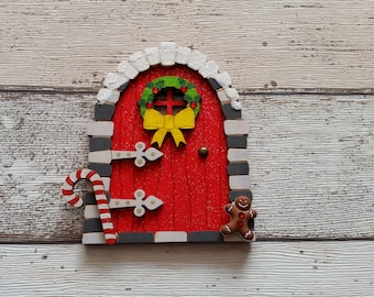 Elf Fairy Christmas door Fairy Door Elf Door Red