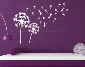 Dandelion Blowing in the Wind Wall Sticker, Home Wall Art Decal, Lounge, Bedroom Wall Mural