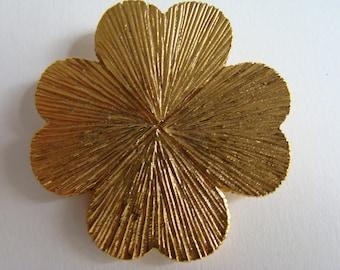 Four leaf clover YSL Yves Saint Laurent brooch