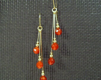 Gold-filled Faceted Carnelian Assymetrical Multi-Dangle Earrings