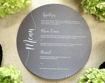 """Round Wedding Menu Cards with Elegant Script, 6"""" Plated Wedding Reception Table Menu Cards CUSTOM COLORS, White Ink Option (50 count) SS14"""